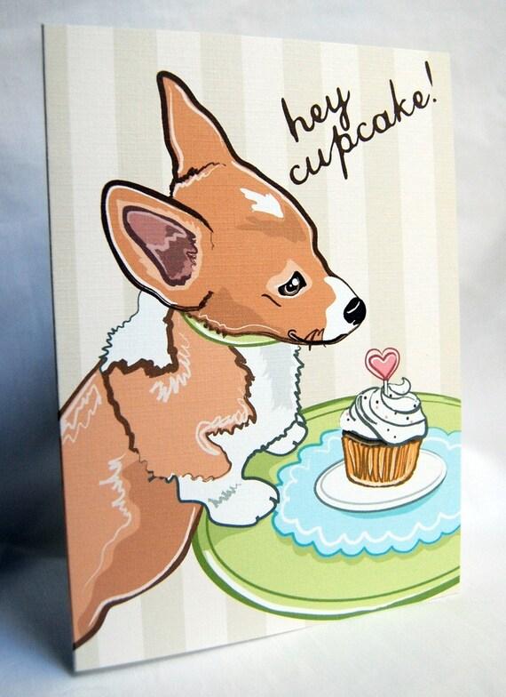 Corgi Cupcake Greeting Card