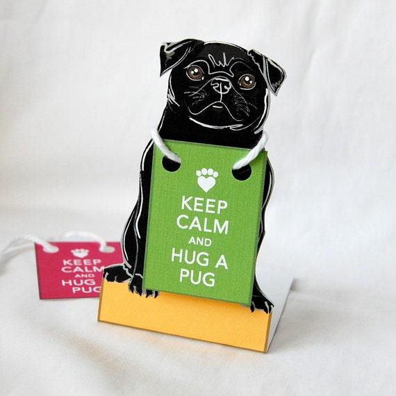 Keep Calm Black Pug - Desk Decor Paper Doll