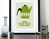Cathrineholm poster print Mid Century Modern home kitchen art coffee poster tea - It's Coffee O'clock Olive A3