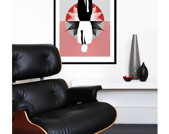 Mad Men poster print - Large 50 x 70 cm poster Mid century modern home eames red