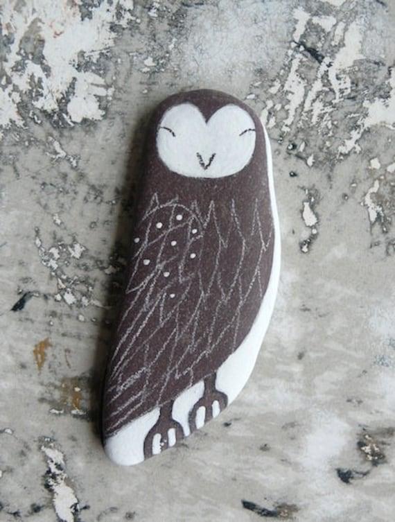 Large Flat Beach Slate Owl