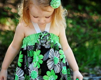 Little Girls Summer Dress - Baby Clothes - Toddler - Floral Cotton Halter Dress - Boutique Kids Outfit - Green -   sizes 3 months to 5 years