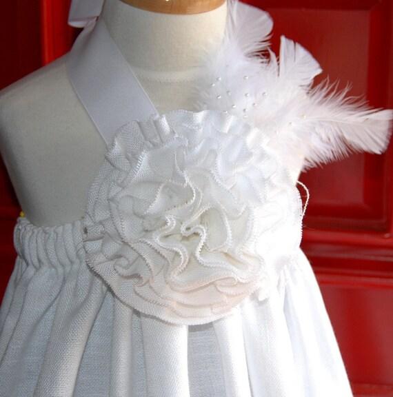 FLOWER GIRL Dress in White Linen