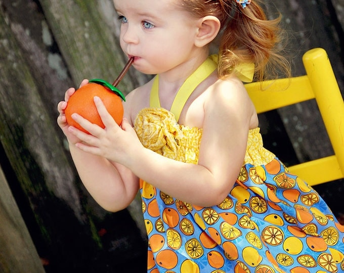 Girls Summer Dress - Toddler Clothes - Baby Outfit - Beach - Zoo - Blue - Lemons - Cotton - Hallther Dress - Sizes 3 months to 5 years
