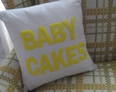 BABY CAKES - terms of endearment, handmade appliqued decorative throw pillow / cushion 16in (41cm) sq