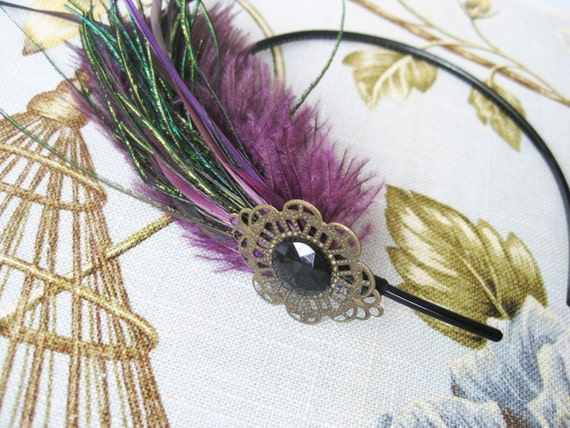 Flapper Feather Headband Purple and Black Fascinator