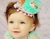 Little Birdie fancy headband for dress up and photo props in pink aqua and gold