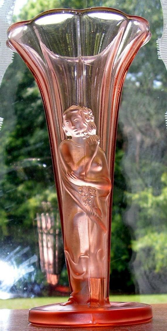 Art Deco Glass Vase Figural Lady  Pink Vintage Czech Bohemian