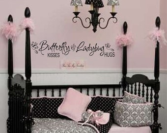 Butterfly Kisses Decal - Girls Wall Decal - Baby Girl Decal - Inspirational Wall Quotes - Little Girls Decor - Vinyl Lettering  054