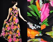 Vintage 1970s Floral Dress Summer Garden Party Maxi XS