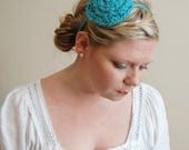 SALE // Skinny Posie Headband in Teal // Adult Blue Flower // Poppy Knitted Headband // Free shipping