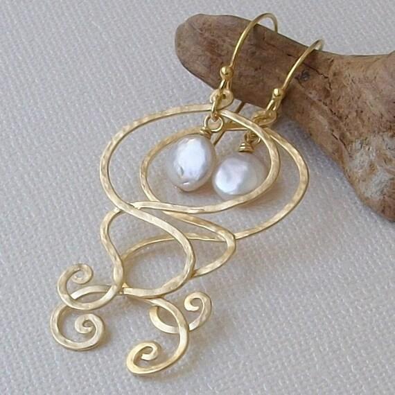 LAST PAIR Pearl Gold Dangle Earrings, June Pearl Birthstone Earrings, Statement Earrings