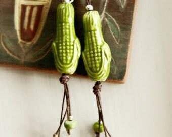 Ceramic Earrings - Sterling Silver & Hemp / Andean Maize
