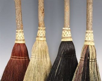 Fireplace Broom in your choice of Natural, Black, Rust or Mixed Broomcorn