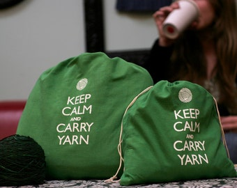 Small knitting project bag - Keep Calm and Carry Yarn - Jennie green