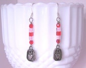 PINK SUGAR - Cotton Candy Pink & Cherry Red Beaded Dangle Earrings