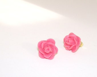 Coral Pink Rose Bud Post Earrings