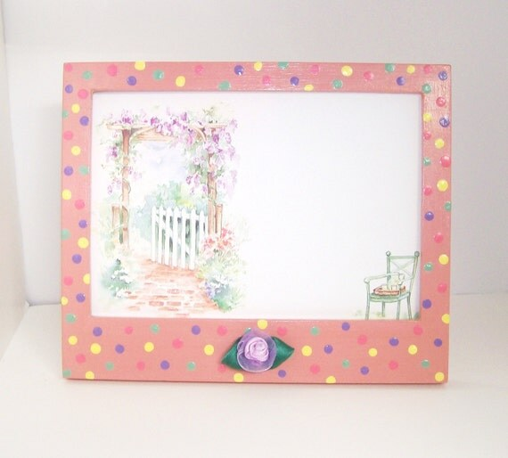 JELLY BEANS 4 x 6 Hand Painted Embellished Picture Frame - Spring Decor -Pastel Polka Dots