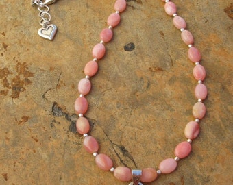 Sterling Silver Artisan Handcrafted Pink Opal Heart Necklace