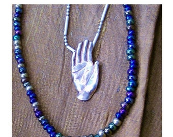 Healing Hand Pendant Charm PMC Real Fine Silver Necklace