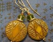 Amber Czech Glass Earrings