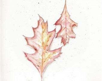 Original watercolor, Leaf painting, Oak Leaf Watercolor,  Original Painting, Oak leaf art