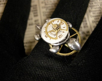 Steampunk Turtle Ring, Adjustable Steampunk Ring