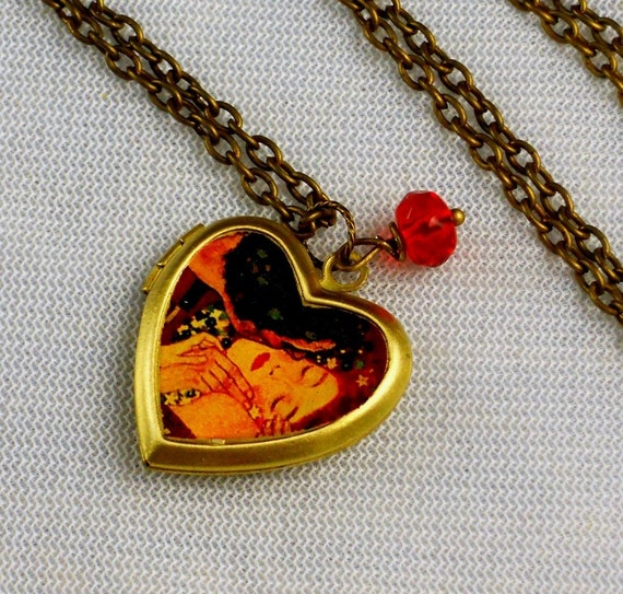 Kiss Heart Shaped Locket, Klimt, Painting, Couple Necklace Locket-KISS FOREVER