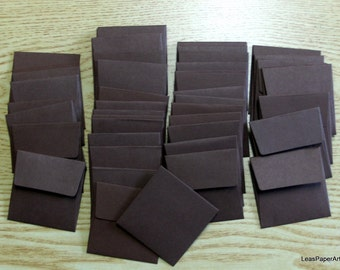 Handmade PaperArt Fifty Mini Envelopes in Java BrownText Paper, New Color, 60 pound Text Paper