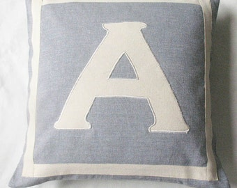 Gray and off white monogrammed pillow. Gift pillow. letter pillow. Initial pillow cover. Custom made cushion covers 14 to20 inches