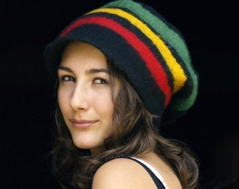 Bob Marley felt hat felt beanie rasta cap felted hat Reggae hat striped beanie french rainbow hat