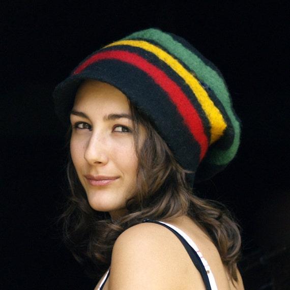 Bob Marley felt hat felt beanie rasta cap felted hat Reggae hat striped beanie french rainbow hat
