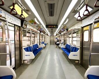 "Seoul, South Korean train photograph, interior architecture, public transit subway train, square wall art, cityscape ""Ko-Rail"""