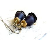 Dark Blue Dangle Drop Earrings Indigo Navy Patina Satin Brass Teardrop Flower Fashion Jewellery