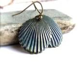 Navy Blue Dangle Drop Earrings Dark Patina Brass Shell Beach Fashion Jewelry