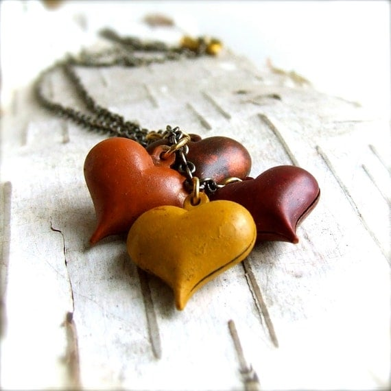 Autumn Hues Hand Patinaed Brass Hearts - Necklace - Love in Autumn- LAST ONEJewellery