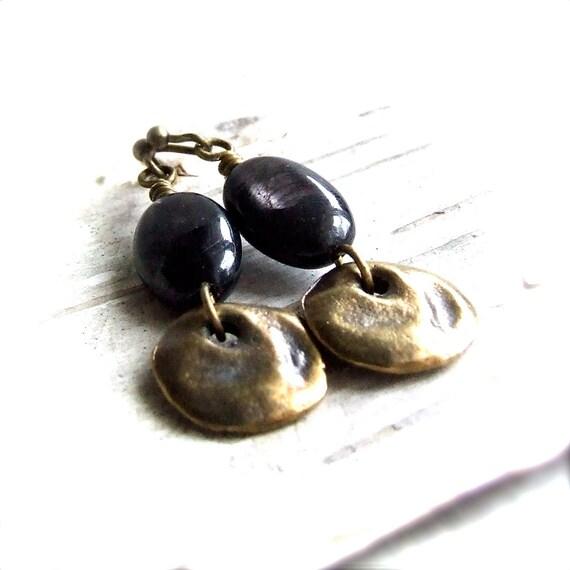Hypersthene, Golden Ceramic Rustic Coin -Gemstone Earrings - Dangle Jewellery