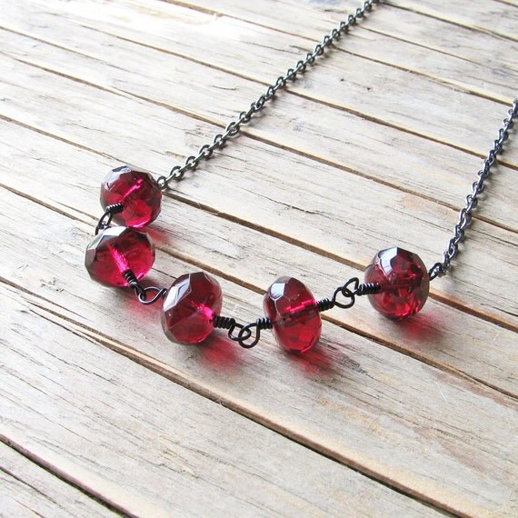 Cranberry Red Necklace, Dark Red Czech Glass Rondelle Beads in Gunmetal Black - Fashion Jewelry