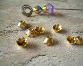 Ten Vintage Bead Caps Petal Shape Golden Brass 6mm
