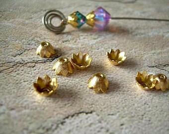 Ten Vintage Bead Caps Petal Shape Golden Brass 6mm