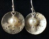 White pearl earrings - rustic pearl earrings - freshwater pearl jewelry - casual jewelry