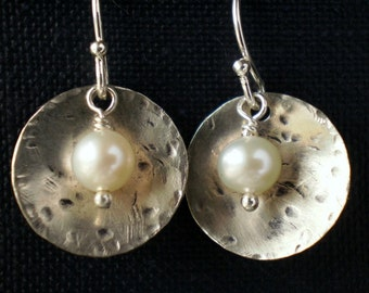 White pearl earrings - rustic pearl earrings - freshwater pearl jewelry - casual jewelry