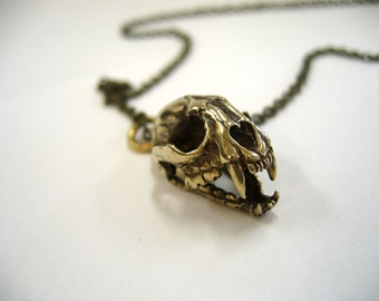 Cat Skull Pendant Cat Skull Necklace with Articulated Jaw  Bronze Cat Skull Jewelry - Moon Raven Designs 102