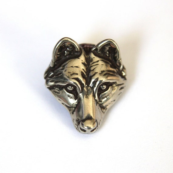 Wolf Face Tie Tack Silver Wolf Head Lapel Pin 058