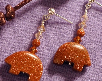 BEAR CUB Earrings With Goldstone & Swarovski Crystals On Sterling Silver Posts   -On Sale-