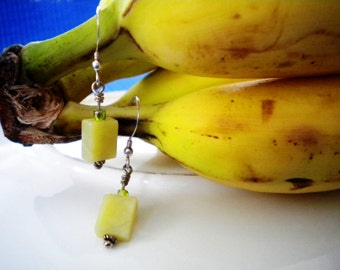 BANANA Earrings With Banana Jade On Bali Sterling Silver Wires