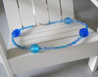 TOTALLY BLUE Anklet Beaded With India & Czech Glass On Sterling Silver -On Sale-