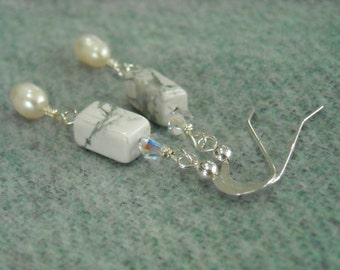 FROSTY Earrings With Howlite, Freshwater Pearls & Swarovski Crystals Wire Wrapped On Sterling Silver Wires