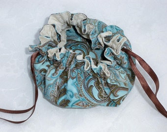 Turquoise Brown Paisley, Jewelry Travel Pouch, Small Drawstring Bag, Ribbon Drawstring, Small Travel Bag, Made To Order