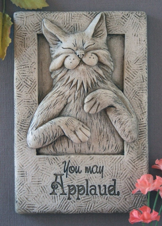 Smug whimsical cat wall sculpture plaque indoor/outdoor & made in USA. Cat lover's gift